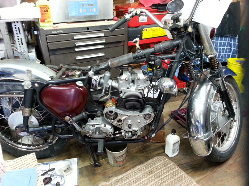 Engine on Carburetor Rebuilding Shop