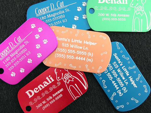 Laser-etched dog tags, dog tag laser engraving services, MA, RI, CT, NH, ME, VT, NY