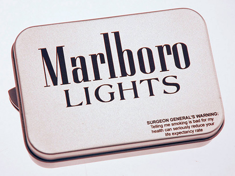Laser-engraved cigarette tin, cigarette case laser marking, MA, RI, CT, NH, ME, VT, NY