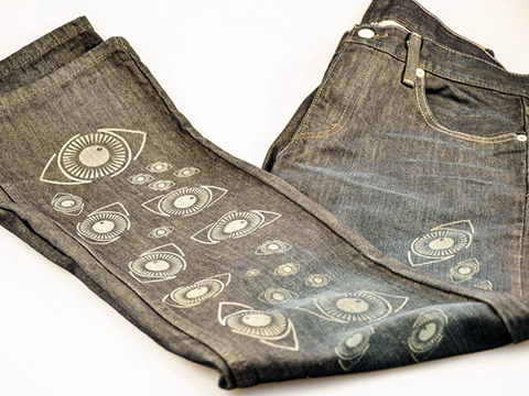 Laser-marked clothing, laser-etched blue jeans, MA, RI, CT, NH, ME, VT, NY